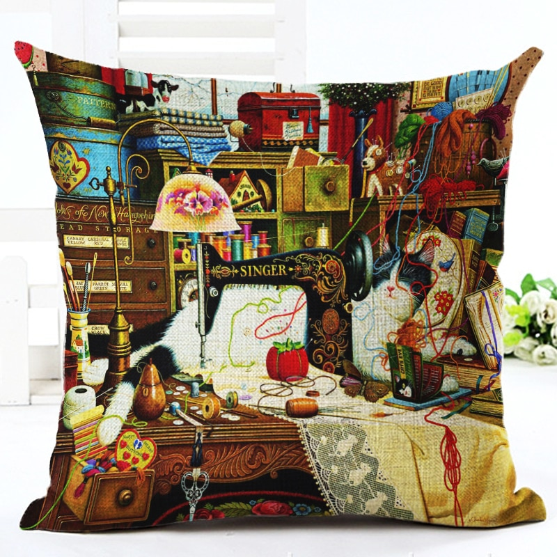 Tapestry Style Cat Pillow Cover