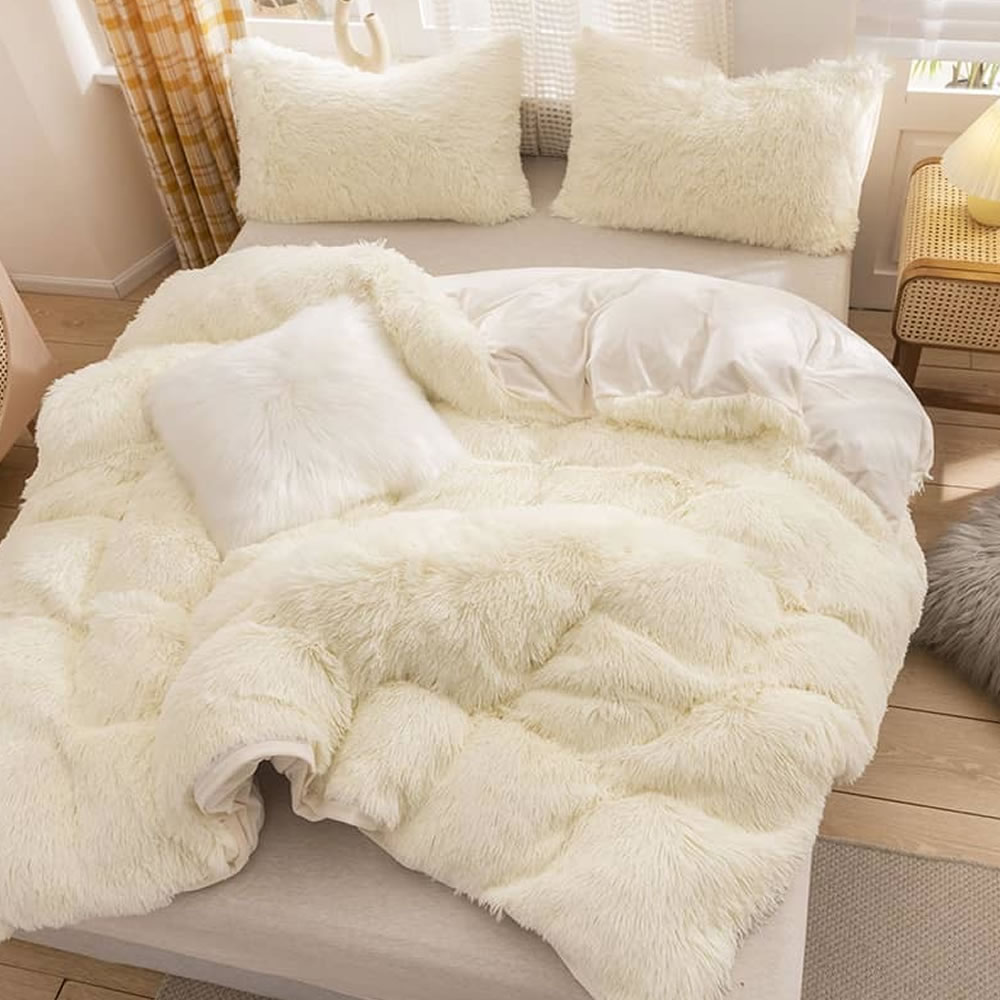 white fleece bed sheets queen