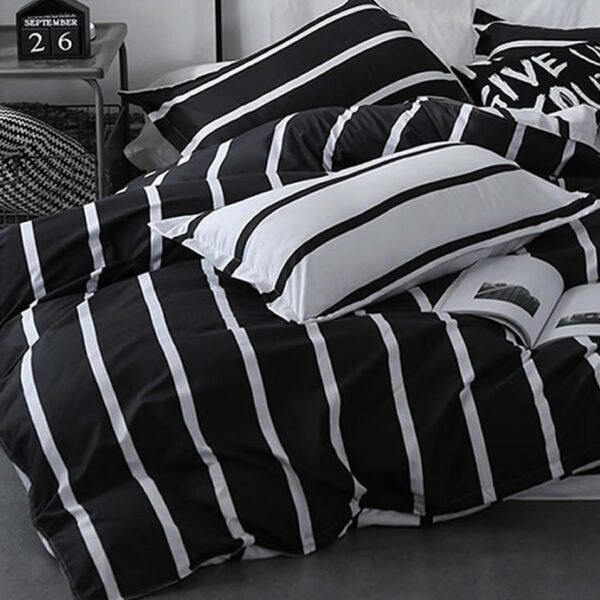striped black white bedding set
