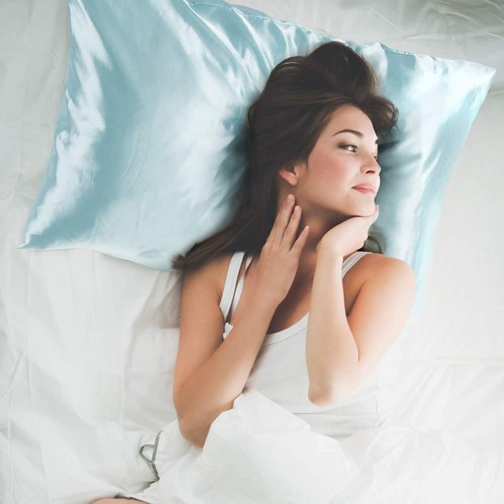 buy light blue satin pillow cases